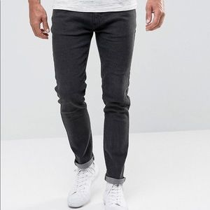 Bellfield Tapered Leg Jeans • 34 • Washed Black